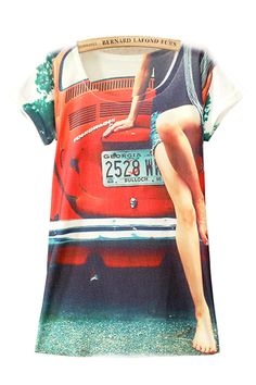 23e81400bbb Car And Hottie Print Round Neck Loose T Shirt TS0230041-7 Casual T Shirts