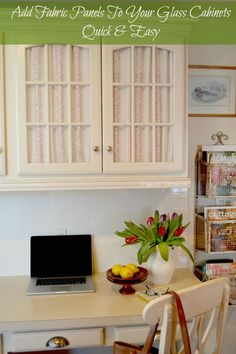Add fabric to glass doors with velcro - great way to add a pop of color to the kitchen