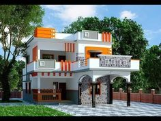 This house concept is a beautiful one-story house of medium size, functional and comfortable. The main facade has a house with an apparent roof and a garage with a parking space for 2 cars. Single Floor House Design, House Front Design, Small House Design, Cool House Designs, Modern House Design, Indian Home Design, Kerala House Design, Indian House Exterior Design, Modern Exterior