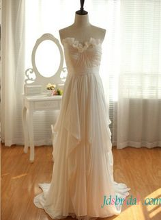 boho ethereal strapless chiffon beach wedding dress