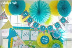 Turquoise, blue, aqua, gingham, Lilly Pulitzer inspired classroom theme and decor.  Classroom decor by Schoolgirl Style  www.schoolgirlstyle.com