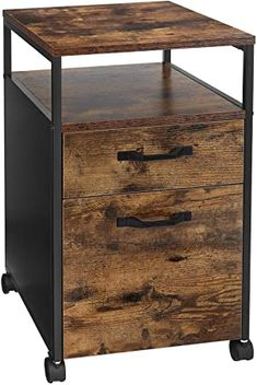 VASAGLE File Cabinet with 2 Drawers, Rolling Office Filing Cabinet with Wheels, Open Compartment, Stable Steel Frame, Industrial Style, Rustic Brown and Black OFC71X: Amazon.co.uk: Kitchen & Home