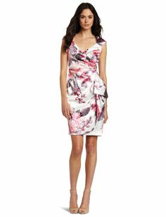 Maggy london ruched printed satin dress