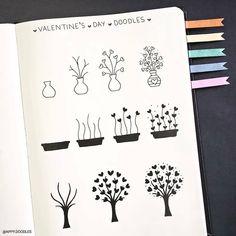 Kunst Zeichnungen - Valentine's Day doodles by ig - Beste Art Pins Bullet Journal Aesthetic, Bullet Journal Notebook, Bullet Journal Ideas Pages, Bullet Journal Layout, Bullet Journal Inspiration, Cute Doodles, Flower Doodles, Easy Doodles, Doodle Drawings