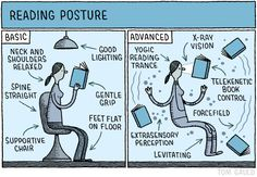 Reading Posture / Tom Gauld - The New Yorker