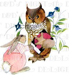 SUBLIME Bunny Rabbit and OWL Storybook by DandDDigitalDelights