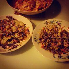 #bonappétit #coleslaw #cru et #vegan suivi de #potimarron cuit vapeur avec une sauce #oignon crème de #Coco  Merci @marion_eberschweiler