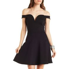 Charlotte Russe Notched Sweetheart Skater Dress ($29) ❤ liked on Polyvore featuring dresses, black, skater skirt dress, black skater skirt, black flared skirt, charlotte russe dresses and black ruffle dress