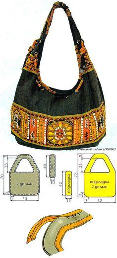 Sewing bags pouch fabrics Ideas for 2019 Diy Bags Patterns, Jean Purses, Diy Sac, Ethnic Bag, Bag Pattern Free, Handmade Purses, Boho Bags, Patchwork Bags, Denim Bag