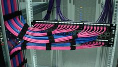 Running Pink and Blue Ethernet Cables into Patch Panels and a Dell PowerConnect switch Free Web Page, Network Rack, Network Organization, Structured Cabling, Cat6 Cable, Server Rack, Computer Build, Site Hosting, Network Cable
