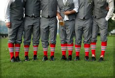 Groomsmen in baseball socks/stirrups. ok i probably wouldn't want this in my wedding but it is a cool idea Our Wedding Day, Wedding Wishes, Wedding Pics, Dream Wedding, Wedding Ideas, Softball Wedding, Sports Wedding, Groomsmen Socks, Baseball Socks