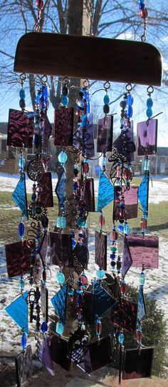 Stained Glass Art Wind Chime Purple Turquoise by glasscrushdesigns, $65.00