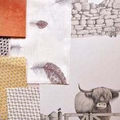 A fun mood board using our Free Fall feather fabric, our Highland Fling wallpaper @white_virginia @virginiawhitecollection fabrics and @firedearthuk tiles. #moodboard #wallpaper #highlandcow #illustration #drawing #fabric #colour #inspiration #study #interiordesign #detail #home #design