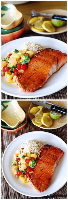 Broiled Salmon with Mango Salsa and Rice - Food Recipes by Damla Salmon Recipes, Fish Recipes, Seafood Recipes, Cooking Recipes, Healthy Recipes, Delicious Meals, Yummy Food, Food Experiments, Rice Food