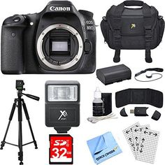 Canon EOS 80D MP CMOS Digital SLR Camera (Body) Deluxe Bundle includes Camera, Case, Tripod, 32GB Memory Cards, LP-E6 Battery, Flash, Cleaning Kit, Beach Camera Cloth and More 24.2