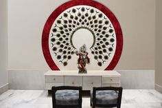 Architects The uber luxury feel of the puja room is further accentuated with the water body, wh Clouds Band, Tv Unit Furniture, Wardrobe Design Bedroom, Puja Room, Meet Friends, Wave Pattern, Handmade Rugs, Facade, Decorative Plates