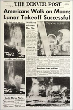 historical astronaut moon landing poster NEWSPAPER HEADLINE journalism Brand New. Will ship in a tube. Reproduction of aged original vintage art print. Great wall decor art print a Newspaper Headlines, Old Newspaper, Newspaper Layout, Neil Armstrong, Apolo Xi, The Astronaut Wives Club, Apollo Space Program, Moon Party, Space And Astronomy