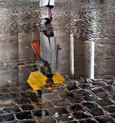 Yellow umbrella reflection in Roma, Italy — Photo by Massimo Strazzeri
