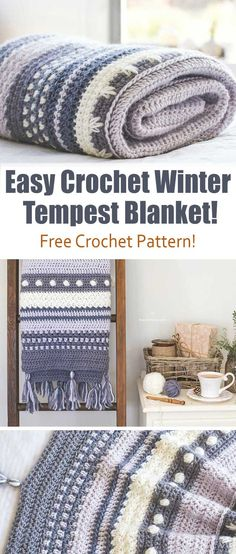 Easy Crochet Winter Tempest Blanket – Free Pattern! Envelope yourself in the warmth and serenity of the Winter Tempest Crochet Blanket, as it gently transports you to a quaint little cottage by the seaside. #Aboutcrochet #Crochetblanket #blankets #crochetlovers #crochetforwinter #handmade #Freecrochetpattern
