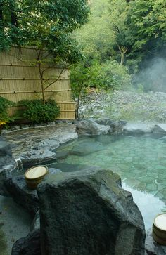 Hot spring(Onsen) in Hakone, Japan - How about this for a hot tub in one's backyard? I, Mauri Tenney have been there twice in my lifetime. I loved the eculaliptus scent. Japanese Hot Springs, Japanese Bath, Japanese Nature, Japan Travel, Japan Tourism, Land Scape, Beautiful Places, Scenery, Around The Worlds