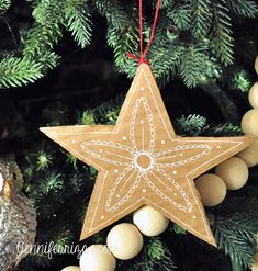 Make pretty DIY hand-drawn cardboard stars from recycled cardboard and white gel pens. Really inexpensive and easy! Great kid's craft idea for Christmas Kids Christmas Ornaments, Christmas Card Crafts, Christmas Origami, Preschool Christmas, Christmas Makes, Noel Christmas, Outdoor Christmas Decorations, Christmas Projects, Christmas Themes