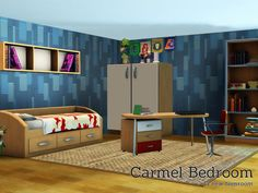 Carmel bedroom, a new teenroom for your sims. Found in TSR Category 'Sims 3 Kids Bedroom Sets' Sims 4 Cc Furniture, Nursery Furniture, Sims 3 Pc, 3 Kids Bedroom, Free Sims, Bedding Sets, Playroom, Toddler Bed, Sims Resource