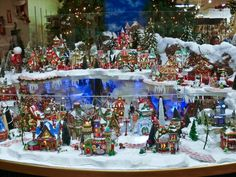 City Lights: Two-Tiered North Pole Village Display