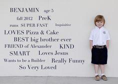 First Day of School picture idea.  PreK back to school pic.  Super cute little boy!!