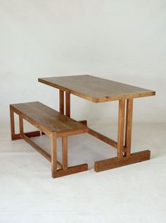 Scandinavian pine table and bench, 1950s.