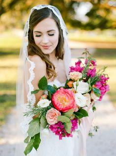 fuchsia bouquets - photo by Dana Fernandez Photography http://ruffledblog.com/mexico-inspired-wedding-ideas-with-bougainvillea