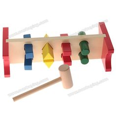 Cheap Interesting Wooden Vivid Color Driving Pile Abutment Intellectual Toy | Everbuying.com