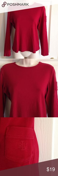 Petite Ralph Lauren red long sleeve cotton top, M Petite Ralph Lauren red long sleeve 100% cotton top, medium, great condition Ralph Lauren Tops