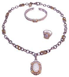 REDUCED! Judith Ripka Sterling 14k Gold 4pc Set Cuff Pendant Chain Ring #JudithRipka