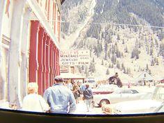 Vintage photo 35mm slide : ski resort town 1960's