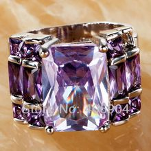 Wholesale Noble Unisex Emerald Cut Tourmaline Amethyst 925 Silver Ring Size 7 8 9 10 For Lovers Fashion Jewelry Free Shipping(China (Mainland))