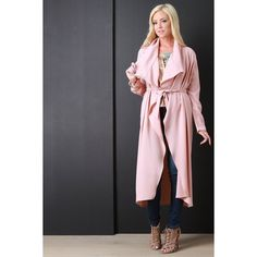 Crepe Draped Belted Trench Jacket ($64) via Polyvore featuring outerwear, jackets, longline jacket, drapey trench coat, drape jacket, crepe jacket and lightweight trench coat