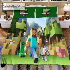 Minecraft Blanket, Minecraft Bedding, Minecraft Bedroom, Duvet Bedding Sets, Bed Sheets, Phoenix, Duvet Covers, Bedroom Ideas, Pillow Cases
