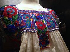 Detail of beaded blouse Mexican Embroidery, Fashion Details, Fashion Design, Surface Design, Kimono Top, Textiles, Costumes, Diego Rivera, Unique