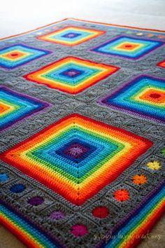 READY To SHIP Rainbow Blanket of Happiness by simplyhappycreations