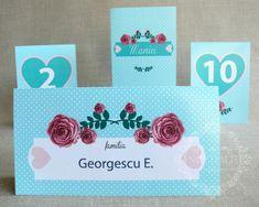 "Place-card/ plic de bani nunta cu trandafiri si buline – ""MELISSA"""