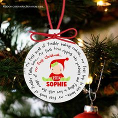 personalized Christmas ornament, baby's first, boy or girl ornament