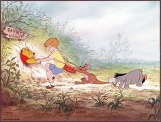 Pooh -- This is the particular story I had as a picture book, with Pooh getting stuck in a hole. Mom read it so many times.