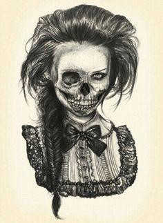 Creepy skull dead girl