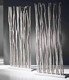Paravent séparation bois de mangrove blanchi