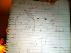 My Cloudtail drawing! Daisy's in it and sorry but I couldn't take a straight pic so my grandma is in the background XD. Hope u like my pic! Warrior Cat Drawings, Daisy, Margarita Flower, Daisies