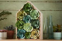 If you're not blessed with green fingers this die-cut succulent home decor wall art project is for you; there's absolutely no watering required! Pom Pom Tree, Pom Pom Wreath, Loom Knitting Projects, Sewing Projects, Projects To Try, Hobbies And Crafts, Crafts For Kids, Charm Pack Patterns, Origami Easy
