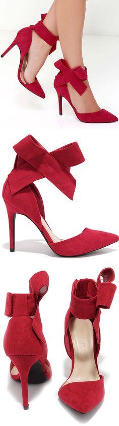 Crimson Bow Heels ღ L.O.V.E