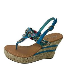 2f01c1469b14 Aqua Floral Embellished Wedge Sandal  zulilyfinds Braided Sandals