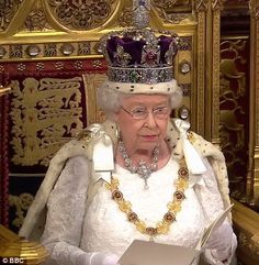 The Queen delivering her speech opening the parliamentary session today