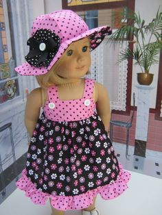 Spring Retro Pink and Black Dress and Hat for 18 inch and American Girl Doll by Bon Bon Boutique American Girl Doll Clothes / 18 Doll J. Sewing Doll Clothes, American Doll Clothes, Girl Doll Clothes, Doll Clothes Patterns, Girl Dolls, Ag Dolls, American Dolls, Barbie Clothes, Doll Patterns